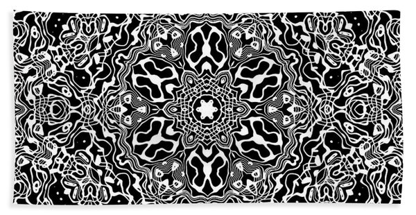 Beach Towel featuring the digital art Black And White Mandala 34 by Robert Thalmeier