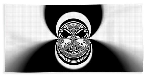 Beach Towel featuring the digital art Black And White Mandala 35 by Robert Thalmeier