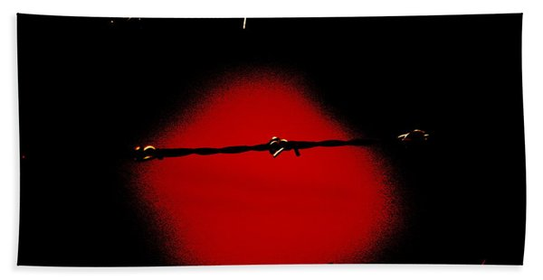 Black Barbed Wire Over Black And Blood Red Background Eerie Imprisonment Scene Beach Towel