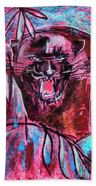 Black Panther,  Original Painting Beach Towel