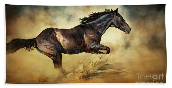 Black Stallion Horse Galloping Like A Devil Beach Towel