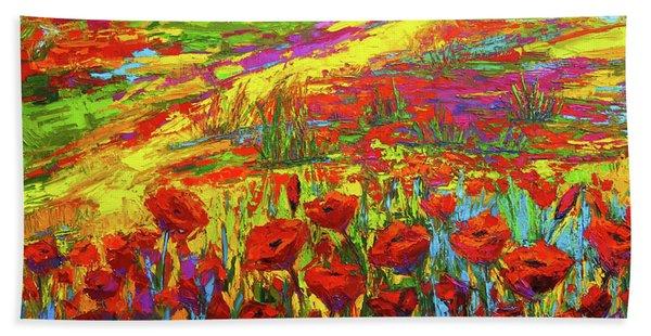 Blanket Of Joy Modern Impressionistic Oil Painting Of Poppy Flower Field Beach Sheet