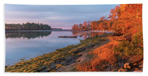 Beach Towel featuring the photograph Blazing Shore by Tom Singleton