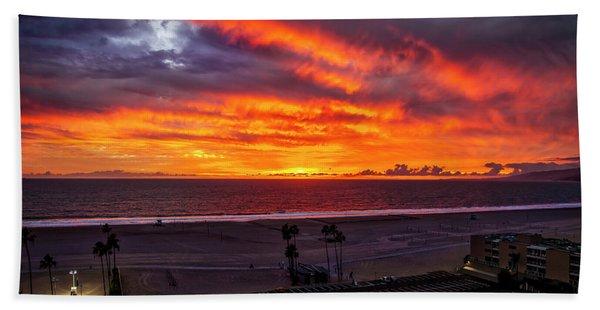 Blazing Sunset Over Malibu Beach Sheet