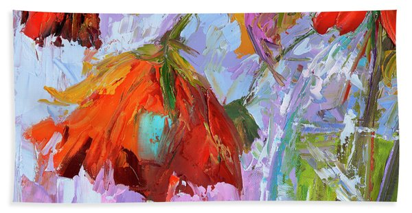 Blossom Dreams In A Vase Oil Painting, Floral Still Life Beach Sheet