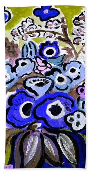 Blue Anemones Beach Towel