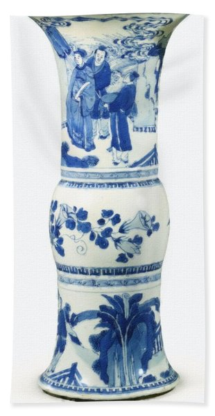 Blue  Chinese Chinoiserie Pottery Vase No 3 Beach Towel