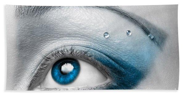 Blue Female Eye Macro With Artistic Make-up Beach Towel