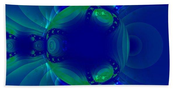 Blue Green Globe Luminant Fractal Beach Towel