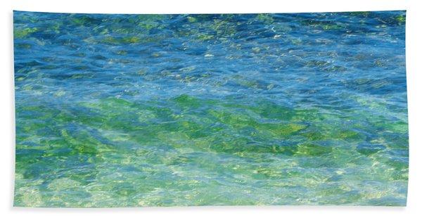 Blue Green Waves Beach Towel
