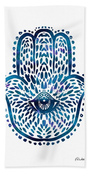 Blue Hamsa Hand Beach Sheet