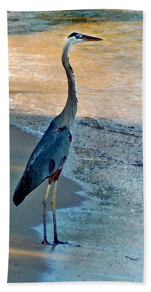 Blue Heron On The Beach Close Up Beach Towel