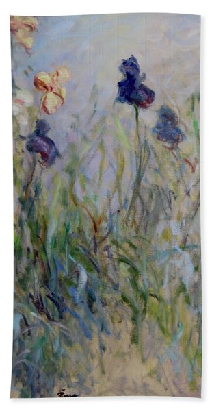 Blue Irises In The Field, Painted In The Open Air  Beach Sheet