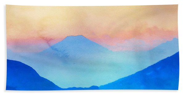 Beach Towel featuring the painting Blue Mountains Watercolour by Mark Taylor