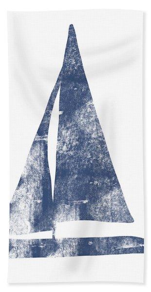 Blue Sail Boat- Art By Linda Woods Beach Towel