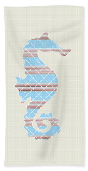Blue Seahorse Art Beach Towel