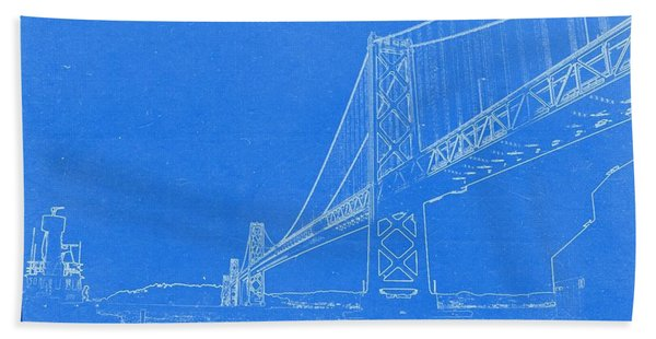 Blueprint Of Suspension Bridge Beach Towel