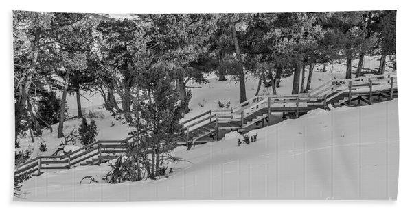 Boardwalk Climbing A Hill Beach Towel