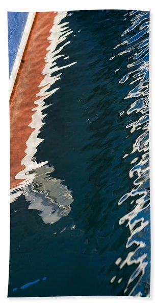 Boatside Reflection Beach Towel
