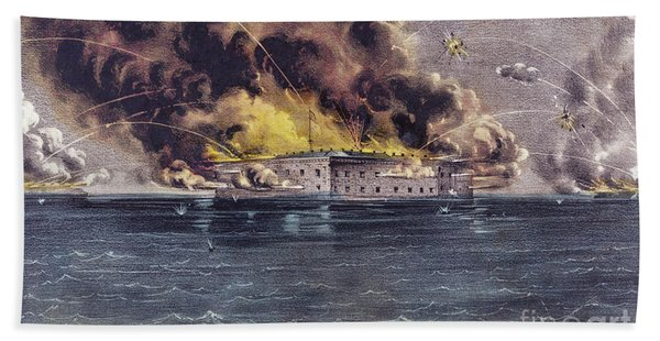 Bombardment Of Fort Sumter, Charleston Harbor, Signaled The Start Of The American Civil War Beach Towel