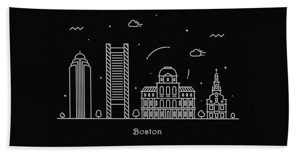 Boston Skyline Travel Poster Beach Towel