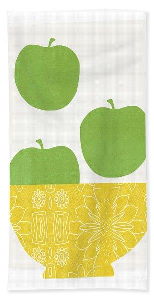 Bowl Of Green Apples- Art By Linda Woods Beach Towel