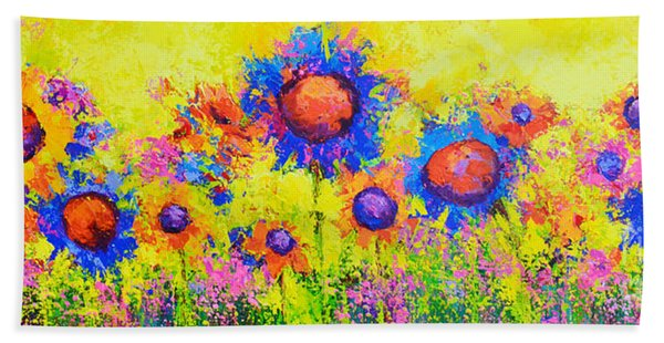 Breath Of Sunshine - Modern Impressionist Artwork - Palette Knife Work Beach Sheet