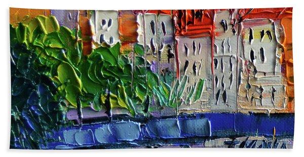 Bridge On The Saone River - Lyon France - Palette Knife Oil Painting By Mona Edulesco Beach Towel