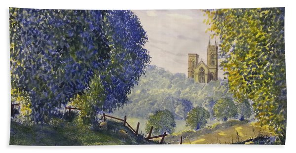 Bridlington Priory From Woldgate On The Hockney Trail Beach Towel