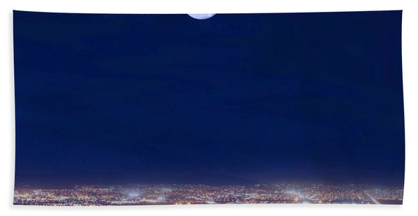 Beach Towel featuring the digital art Bright Lights Big City by Mark Taylor