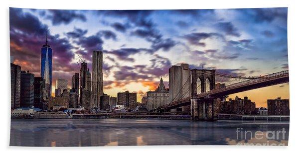 Brooklyn Bridge Manhattan Sunset Beach Sheet