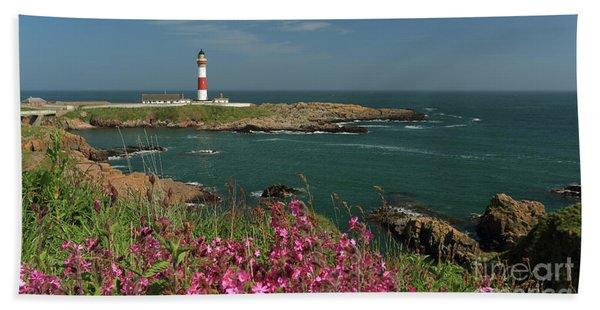 Buchan Ness Lighthouse And Spring Flowers Beach Sheet