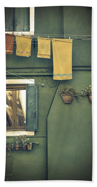 Burano - Green House Beach Towel