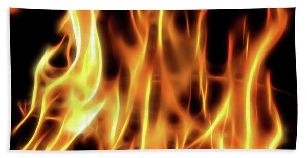 Burning Flames Fractal Beach Towel