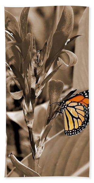 Butterfly In Sepia Beach Towel