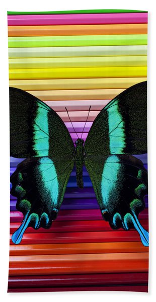 Butterfly On Colored Pencils Beach Towel
