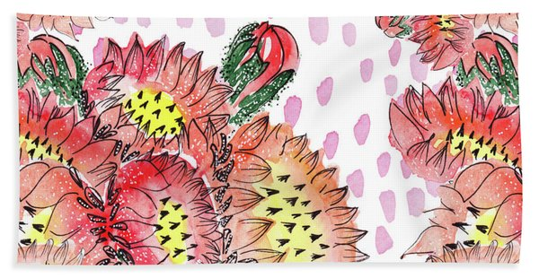 Cacti Flowers Beach Sheet