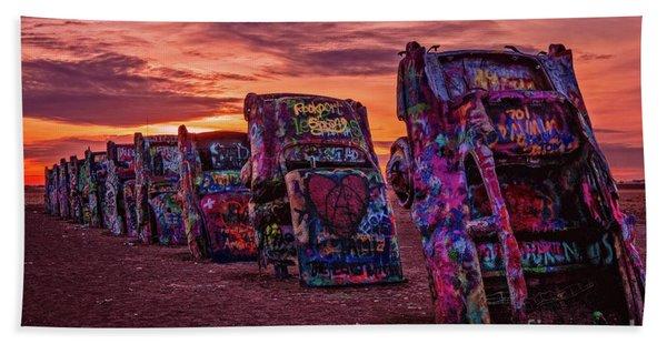 Cadillac Ranch At Sunrise  Beach Towel