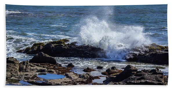Wave Crashing On California Coast Beach Towel