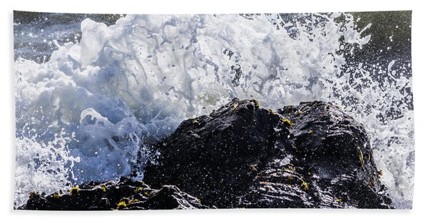 California Coast Wave Crash 4 Beach Towel