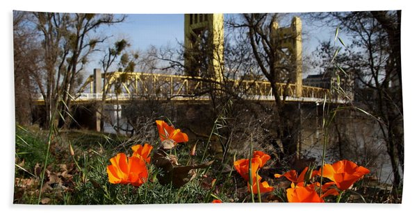 California Poppies With The Slightly Photographically Blurred Sacramento Tower Bridge In The Back Beach Towel