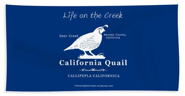 California Quail - White Graphics Beach Towel
