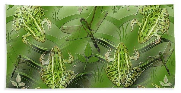 Camo Frog Dragonfly Beach Towel