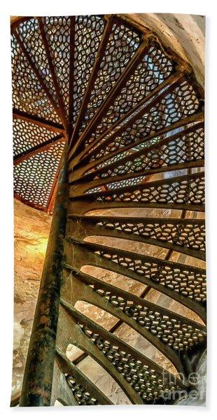 Cana Island Lighthouse Staircase Beach Towel
