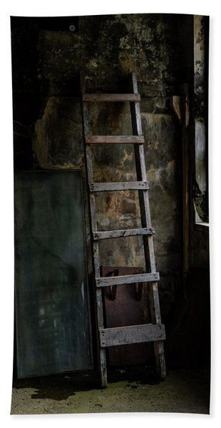 Beach Towel featuring the photograph Cannery Ladder by Tom Singleton