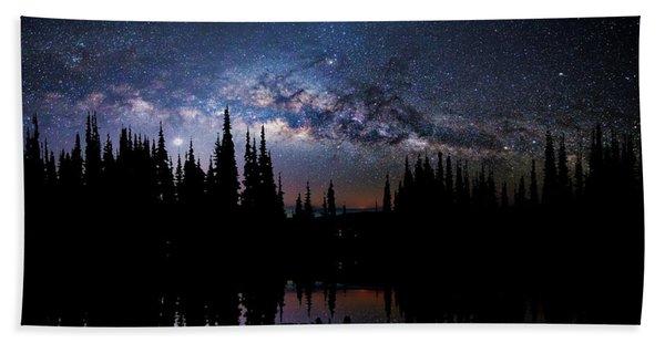 Canoeing - Milky Way - Night Scene Beach Towel
