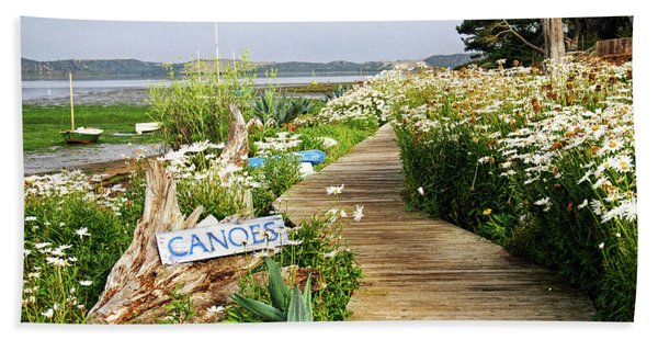 Beach Towel featuring the photograph Canoes By Mike-hope by Michael Hope