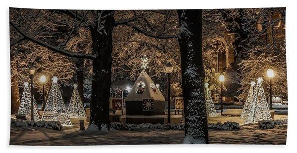 Canopy Of Christmas Lights Beach Sheet