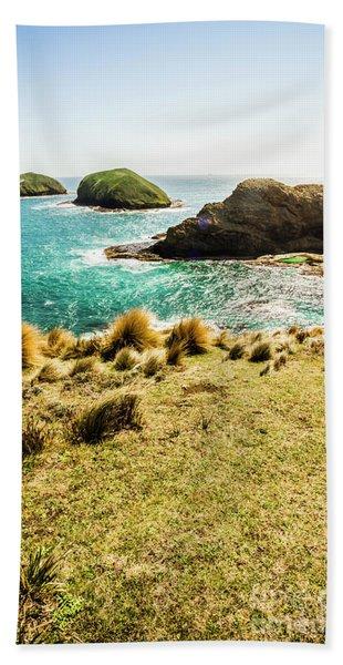 Captivating Coastal Cliff Beach Towel