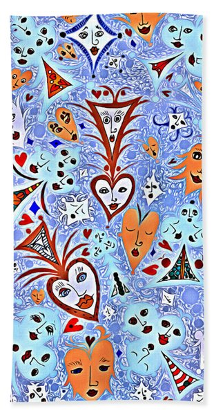 Card Game Symbols With Faces In Blue Beach Towel
